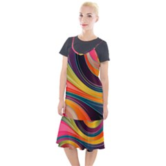 Abstract Colorful Background Wavy Camis Fishtail Dress