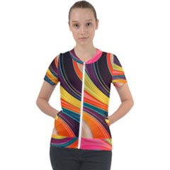 Abstract Colorful Background Wavy Short Sleeve Zip Up Jacket by HermanTelo