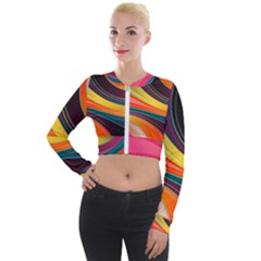 Abstract Colorful Background Wavy Long Sleeve Cropped Velvet Jacket by HermanTelo