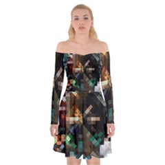 Abstract Texture Desktop Off Shoulder Skater Dress by HermanTelo