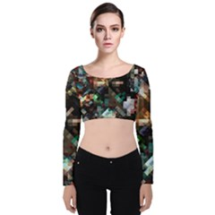 Abstract Texture Desktop Velvet Long Sleeve Crop Top
