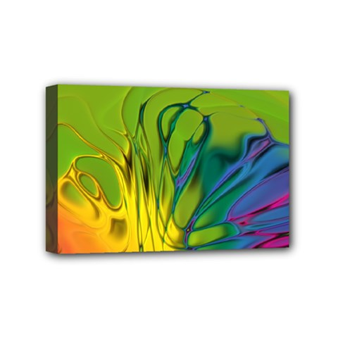 Abstract Pattern Lines Wave Mini Canvas 6  X 4  (stretched) by HermanTelo