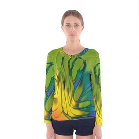 Abstract Pattern Lines Wave Women s Long Sleeve Tee by HermanTelo