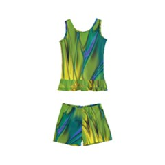 Abstract Pattern Lines Wave Kids  Boyleg Swimsuit