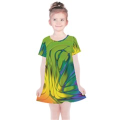 Abstract Pattern Lines Wave Kids  Simple Cotton Dress by HermanTelo