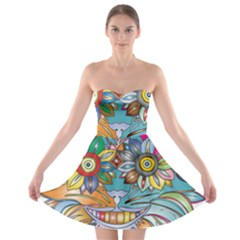 Anthropomorphic Flower Floral Plant Strapless Bra Top Dress