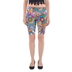 Anthropomorphic Flower Floral Plant Yoga Cropped Leggings by HermanTelo