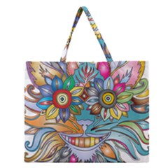 Anthropomorphic Flower Floral Plant Zipper Large Tote Bag