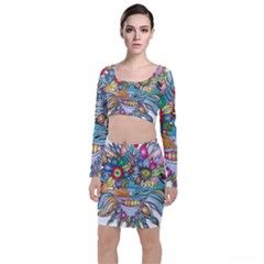 Anthropomorphic Flower Floral Plant Top And Skirt Sets
