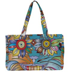 Anthropomorphic Flower Floral Plant Canvas Work Bag by HermanTelo