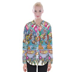 Anthropomorphic Flower Floral Plant Womens Long Sleeve Shirt