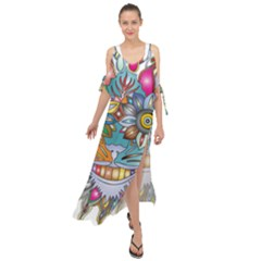 Anthropomorphic Flower Floral Plant Maxi Chiffon Cover Up Dress