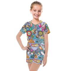 Anthropomorphic Flower Floral Plant Kids  Mesh Tee And Shorts Set
