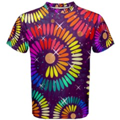Abstract Background Spiral Colorful Men s Cotton Tee