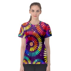 Abstract Background Spiral Colorful Women s Sport Mesh Tee