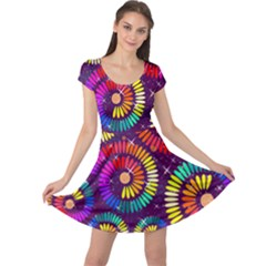Abstract Background Spiral Colorful Cap Sleeve Dress