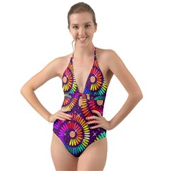 Abstract Background Spiral Colorful Halter Cut-out One Piece Swimsuit