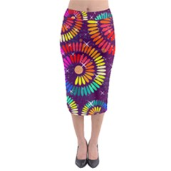 Abstract Background Spiral Colorful Midi Pencil Skirt