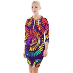 Abstract Background Spiral Colorful Quarter Sleeve Hood Bodycon Dress