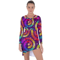 Abstract Background Spiral Colorful Asymmetric Cut-out Shift Dress