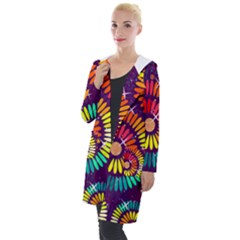 Abstract Background Spiral Colorful Hooded Pocket Cardigan