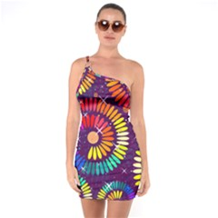 Abstract Background Spiral Colorful One Soulder Bodycon Dress
