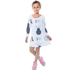 Apples Pears Continuous Kids  Long Sleeve Velvet Dress by HermanTelo