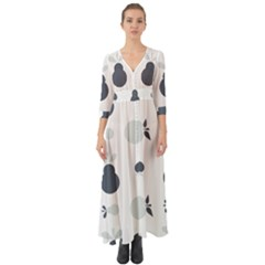 Apples Pears Continuous Button Up Boho Maxi Dress by HermanTelo