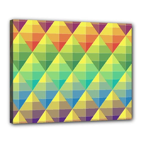 Background Colorful Geometric Triangle Canvas 20  X 16  (stretched) by HermanTelo