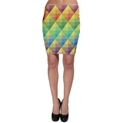 Background Colorful Geometric Triangle Bodycon Skirt by HermanTelo