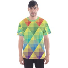 Background Colorful Geometric Triangle Men s Sports Mesh Tee