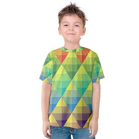 Background Colorful Geometric Triangle Kids  Cotton Tee by HermanTelo