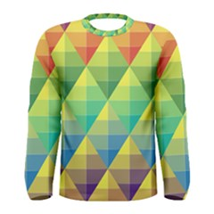 Background Colorful Geometric Triangle Men s Long Sleeve Tee by HermanTelo