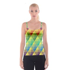 Background Colorful Geometric Triangle Spaghetti Strap Top by HermanTelo