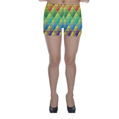 Background Colorful Geometric Triangle Skinny Shorts by HermanTelo
