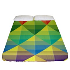 Background Colorful Geometric Triangle Fitted Sheet (king Size) by HermanTelo