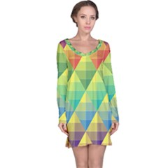 Background Colorful Geometric Triangle Long Sleeve Nightdress by HermanTelo