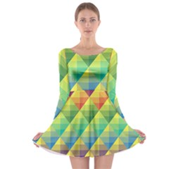 Background Colorful Geometric Triangle Long Sleeve Skater Dress by HermanTelo