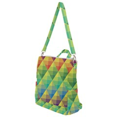 Background Colorful Geometric Triangle Crossbody Backpack by HermanTelo