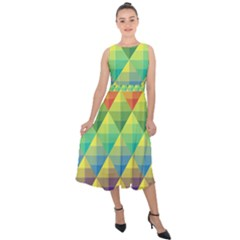 Background Colorful Geometric Triangle Midi Tie Back Chiffon Dress by HermanTelo