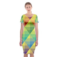 Background Colorful Geometric Triangle Classic Short Sleeve Midi Dress