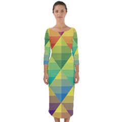 Background Colorful Geometric Triangle Quarter Sleeve Midi Bodycon Dress by HermanTelo