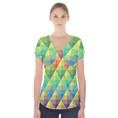 Background Colorful Geometric Triangle Short Sleeve Front Detail Top by HermanTelo