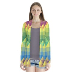 Background Colorful Geometric Triangle Drape Collar Cardigan by HermanTelo