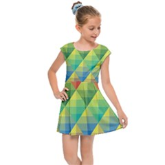 Background Colorful Geometric Triangle Kids  Cap Sleeve Dress