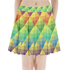 Background Colorful Geometric Triangle Pleated Mini Skirt by HermanTelo