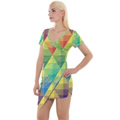 Background Colorful Geometric Triangle Short Sleeve Asymmetric Mini Dress by HermanTelo