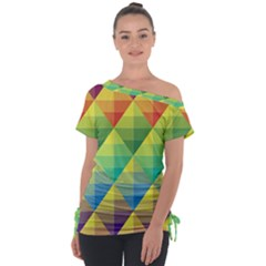 Background Colorful Geometric Triangle Tie Up Tee by HermanTelo