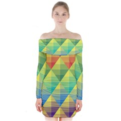 Background Colorful Geometric Triangle Long Sleeve Off Shoulder Dress by HermanTelo
