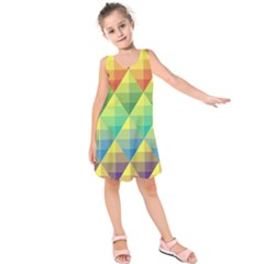 Background Colorful Geometric Triangle Kids  Sleeveless Dress by HermanTelo